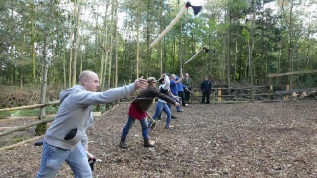 country pursuit hatchet throwing activity
