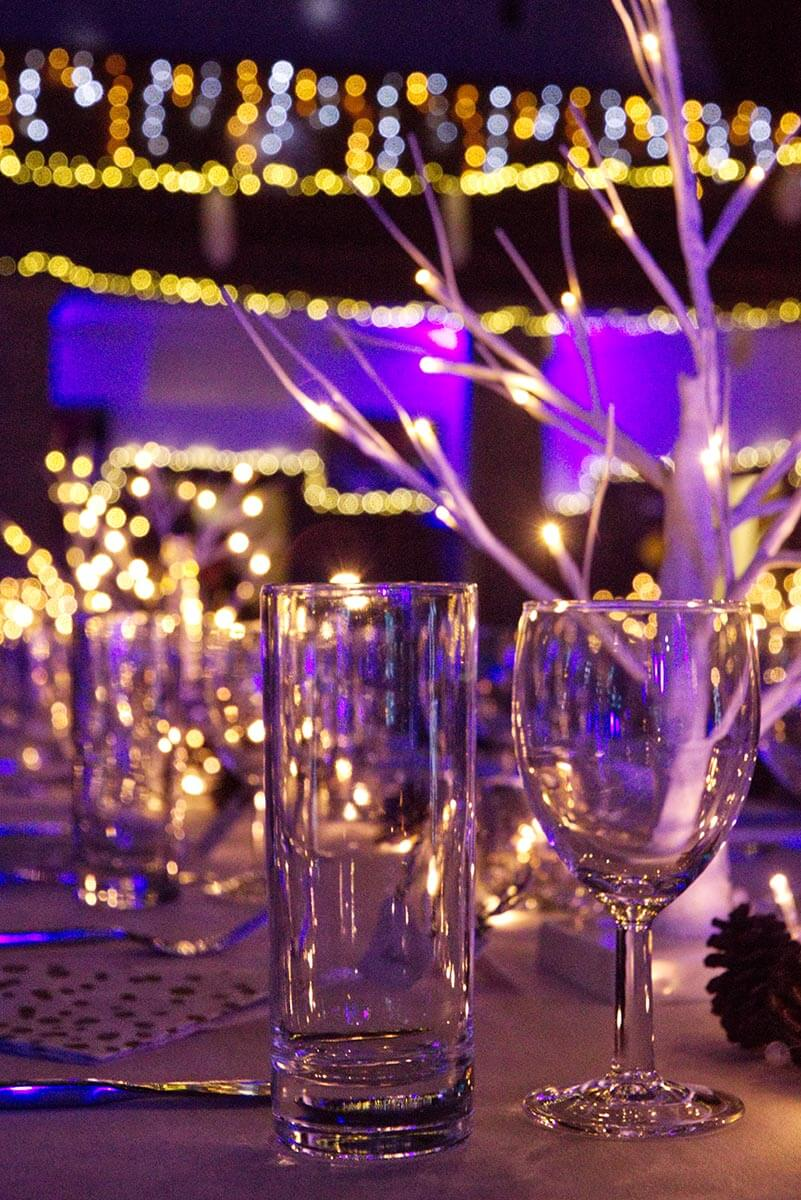 wine glass and water glass in event venue